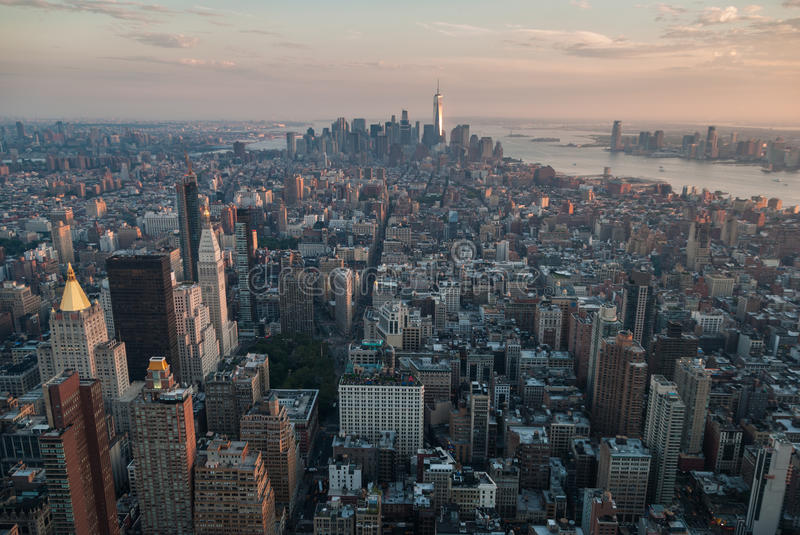 New York panorama. Aerial view of Manhattan`s midtown and downtown at sunset stock image