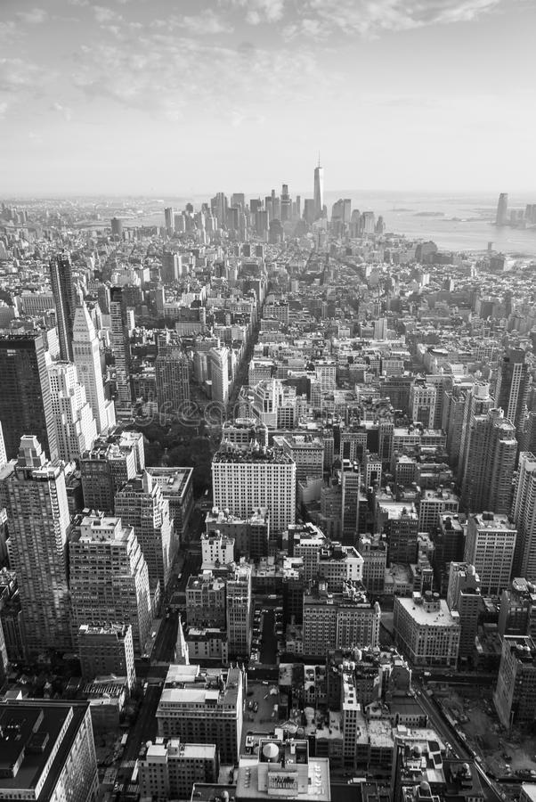 New York panorama in black and white. Aerial view of Manhattan`s midtown and downtown stock photo