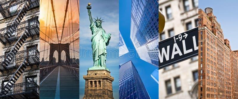 New York, panoramische fotocollage, de oriëntatiepuntenreis van New York en toerismeconcept stock afbeeldingen
