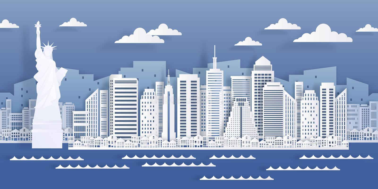 New York paper landmark. USA city skyline view, modern cityscape in origami style. Vector white paper cut skyscraper royalty free illustration