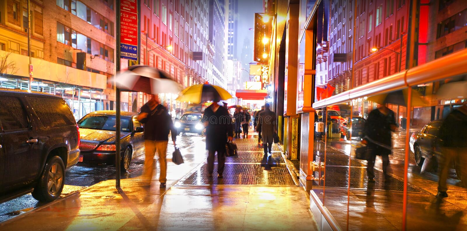 New York people commuting in rain stock photography