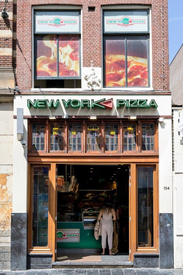 New York pizzarestaurang i Amsterdam, Nederländerna royaltyfri bild