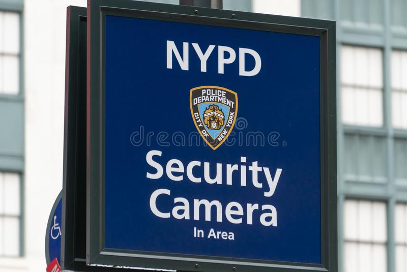 New York Police Department security camera sign. New York, USA - May 14, 2018: Warning sign indicating security camera being used by New York Police Department royalty free stock photo