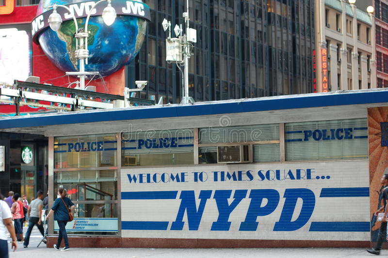 New York Police Department Station In Times Square Editorial Photography