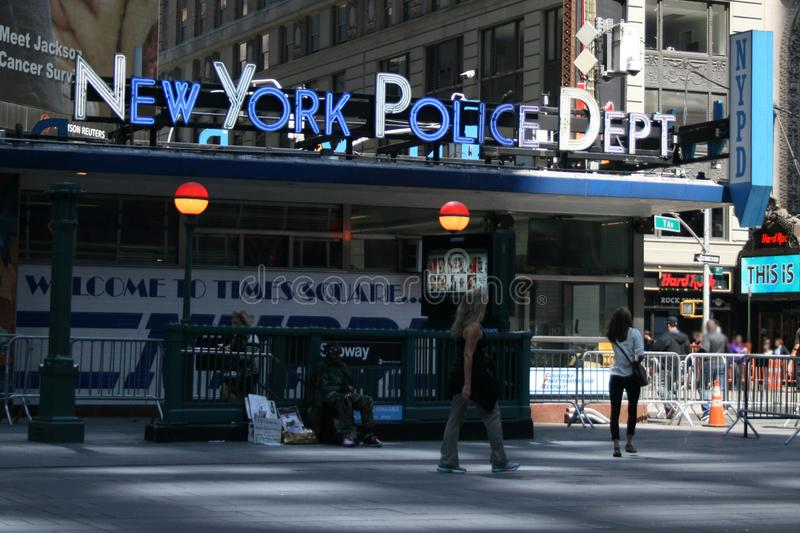New York Police Department on Times Square stock photo