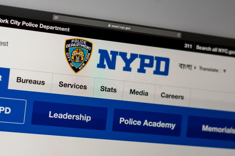 New York Police Department website homepage. Close up of NYPD logo. Miami / USA - 05.11.2019: New York Police Department website homepage. Close up of NYPD logo stock photo