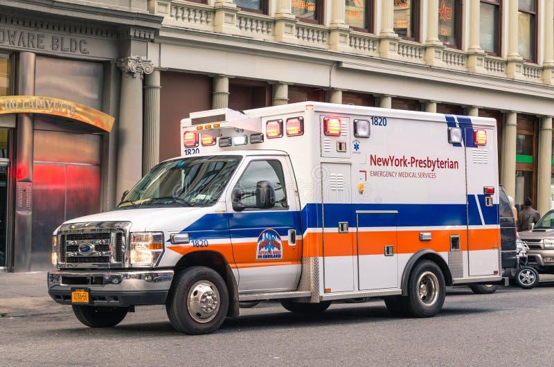 New York Presbyterian Hospital van during service stock photo