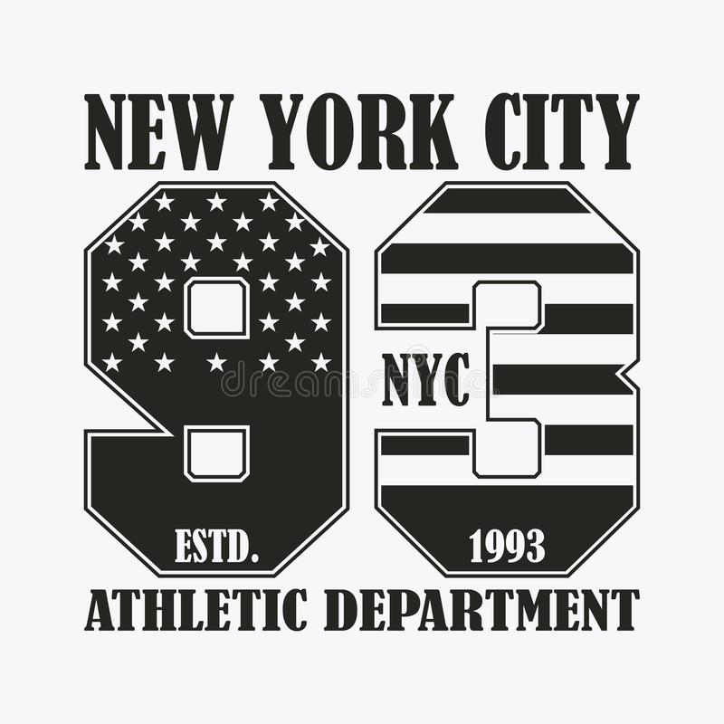 New York print with number in USA flag style. Design clothes, stamp for t-shirt, athletic apparel graphic. Vector. royalty free illustration