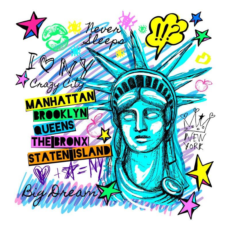 New York, projeto da camisa de t, cartaz, cópia, rotulação da estátua da liberdade, mapa, gráficos do t-shirt, curso na moda, sec ilustração royalty free