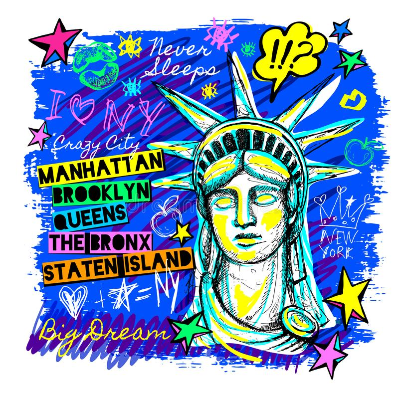 New York, projeto da camisa de t, cartaz, cópia, rotulação da estátua da liberdade, mapa, gráficos do t-shirt, curso na moda, sec ilustração do vetor