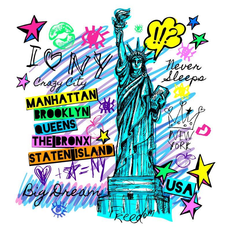 New York, projeto da camisa de t, cartaz, cópia, rotulação da estátua da liberdade, mapa, gráficos do t-shirt, curso na moda, sec ilustração stock