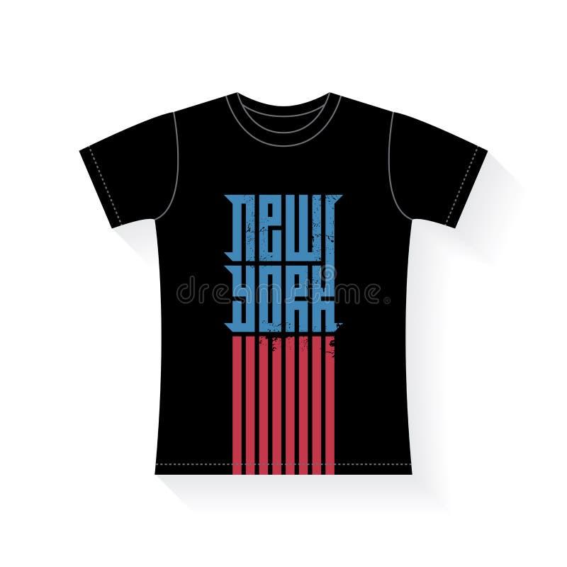 New York - projeto do t-shirt Gráficos do t-shirt do vetor com grunge ilustração stock