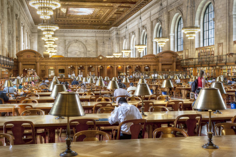 The New York Public Library. Is a landmark and sightseeing of Manhattan, USA that attracts not only students and researchers but also thousands of tourists stock images