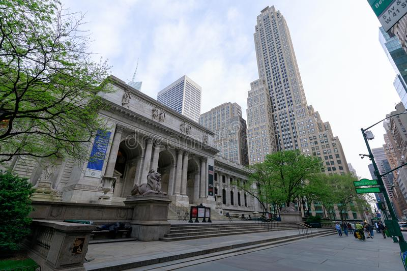 New York Public Library is an emblematic building located in the East of Bryant Park in Manhattan (NYC). New York, USA - May 7, 2018 : New York Public Library is royalty free stock photos
