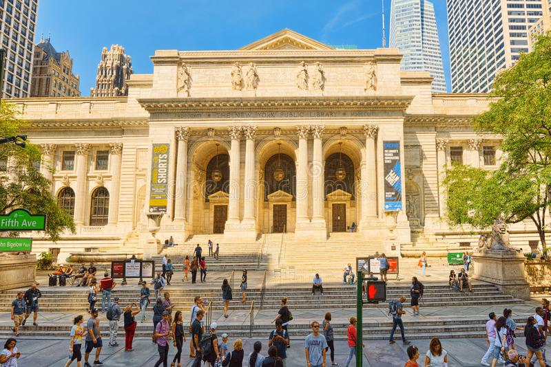 New York Public Library Main Branch in Bryant Park. USA. New York, USA- August 14, 2017: New York Public Library Main Branch in Bryant Park, Manhattan.Stephen A stock photos