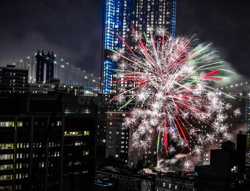 New York quarto dei fuochi d'artificio di luglio fotografie stock