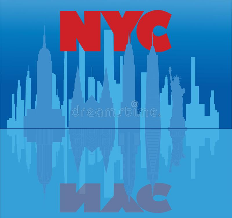 New York red lettering, skyscrapers and travel icons reflecting in light blue water. Travel stock illustration
