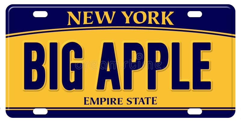 New York registreringsskylt stora Apple royaltyfri illustrationer
