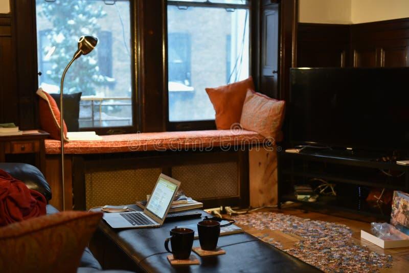 1/23/16, New York: Restare all'interno durante la tempesta Jonas di inverno fotografia stock