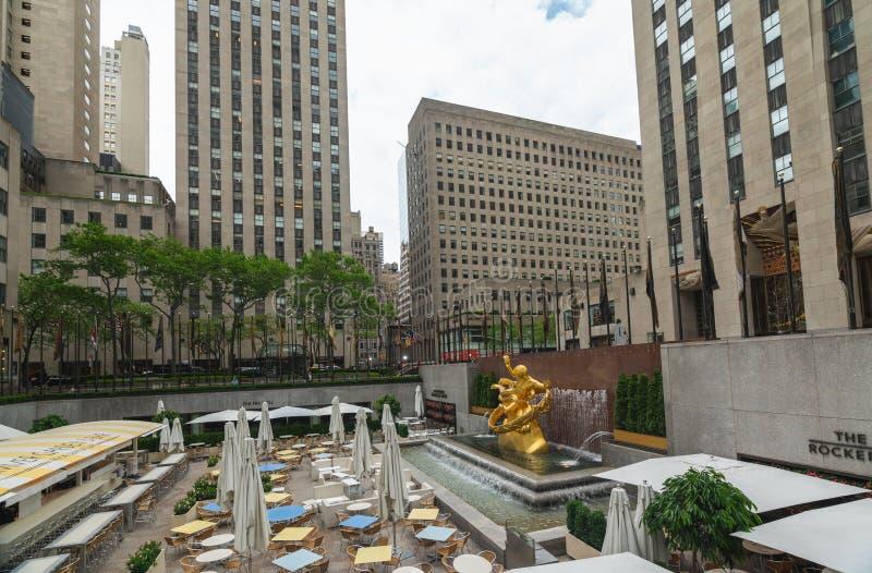 New York Rockefeller Plaza, Midtown Manhattan. New York City/USA-May 28, 2019 royalty free stock photos