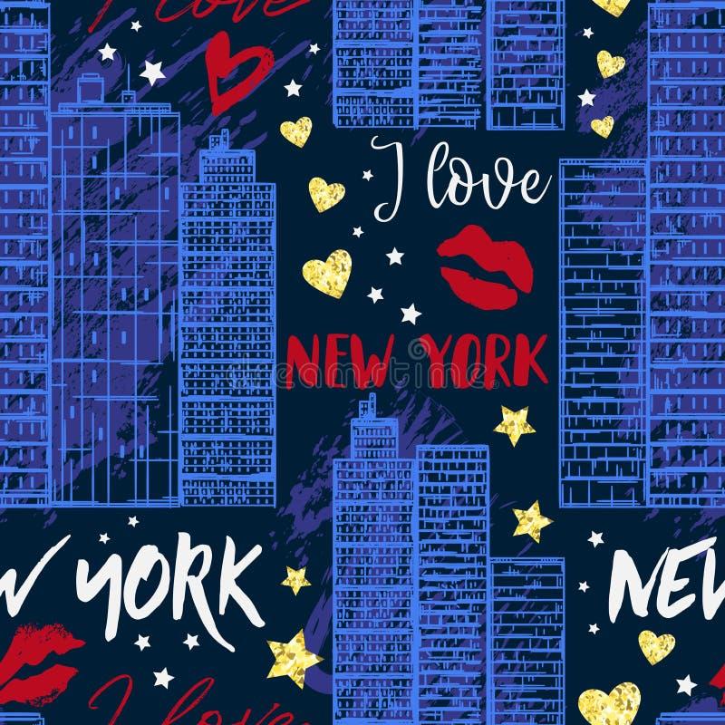New York Sömlös modell med skyskrapor, kyssar, hjärtor och stjärnor stock illustrationer