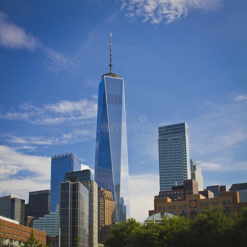 New York's One World Trade Center. The one world trade center tower in the skyline of New York royalty free stock photography