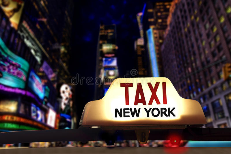 New yorks Taxi. Concept at night stock image