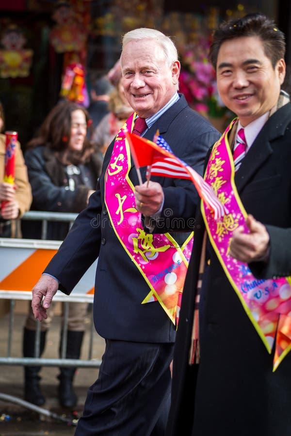 New York senator Martin J. Golden parades at the Lunar New Year Festiva stock photography