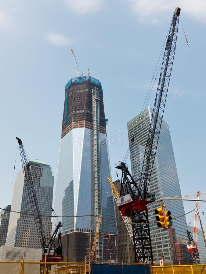 De Bouw van het World Trade Center, New York stock afbeeldingen