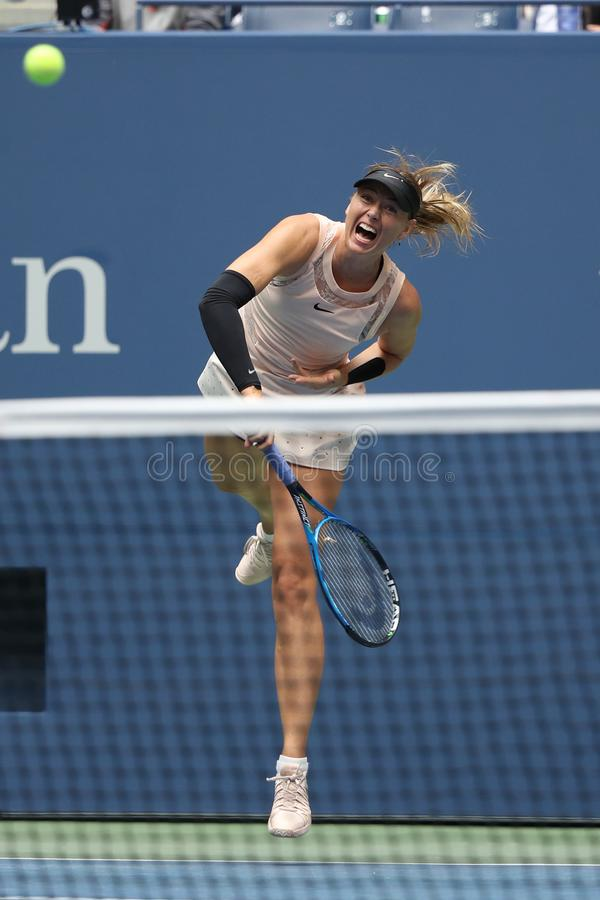 Download Five Times Grand Slam Champion Maria Sharapova Of Russia In Action During Her 2017 US Open Round 4 Match Editorial Stock Image - Image of flushing, grand: 101839909