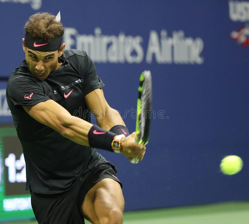 Grand Slam champion Rafael Nadal of Spain in action during his US Open 2017 semifinal match. NEW YORK - SEPTEMBER 8, 2017: Grand Slam champion Rafael Nadal of stock image