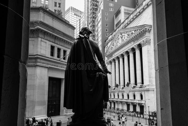 NEW YORK - SEPTEMBER 01, 2018: Mening van New York Stock Exchange van de Federale Zaal, de Stad van New York, de V.S. royalty-vrije stock fotografie