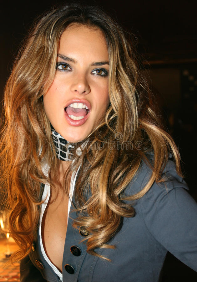 NEW YORK - SEPTEMBER 09: Model Alessandra Ambrosio poses backstage. In Cipriani restaurant at the Rock and Republic Spring / Summer 2007 collection presentation stock photography