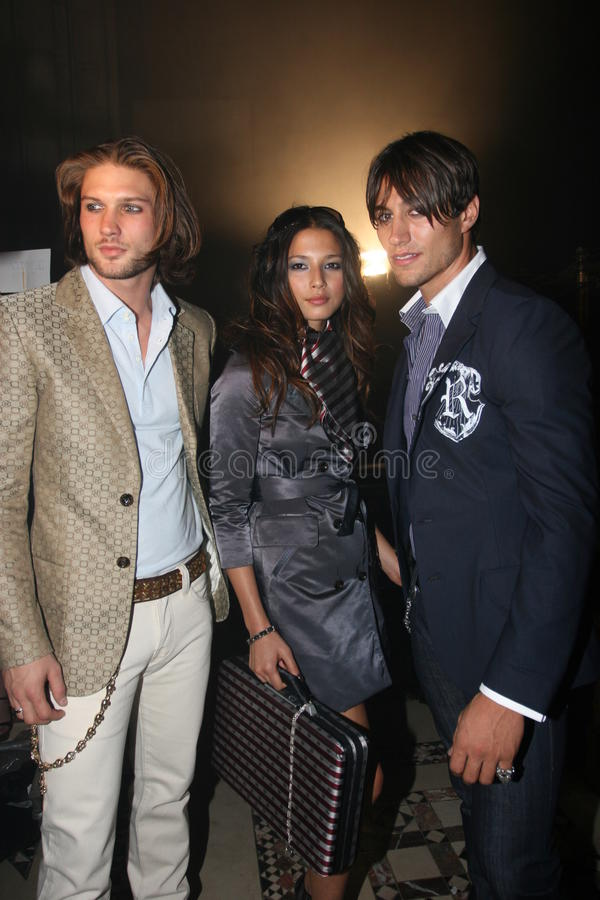 NEW YORK - SEPTEMBER 09: Models poses backstage. In Cipriani restaurant at the Rock and Republic Spring / Summer 2007 collection presentation during New York royalty free stock image