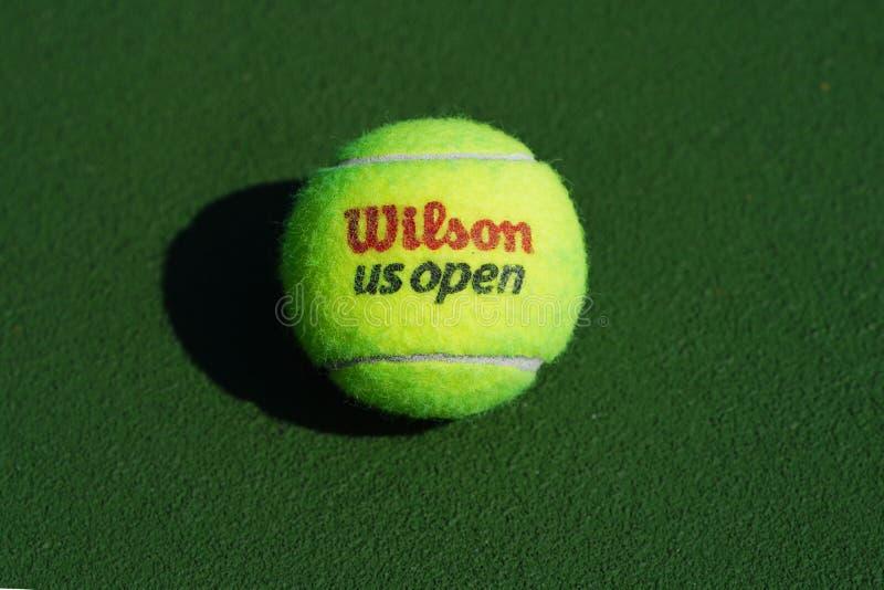 US Open Wilson tennis ball at Billie Jean King National Tennis Center in New York. NEW YORK - SEPTEMBER 3, 2018: US Open Wilson tennis ball at Billie Jean King stock photos