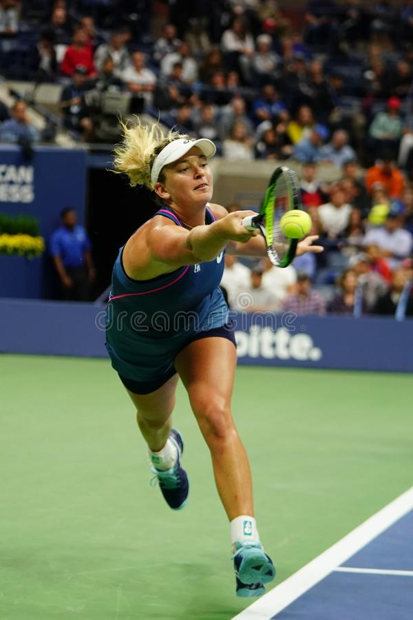 2018 US Open women`s doubles champion CoCo Vandeweghe of United States in action during her final match. NEW YORK - SEPTEMBER 9, 2018: 2018 US Open women`s stock photography