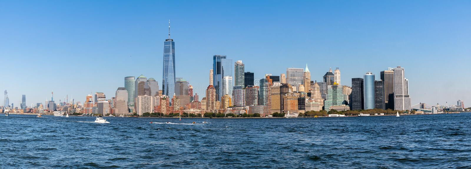 New York Skyline Cityscape showing several prominent buildings and hotels under a blue sky royalty free stock photography