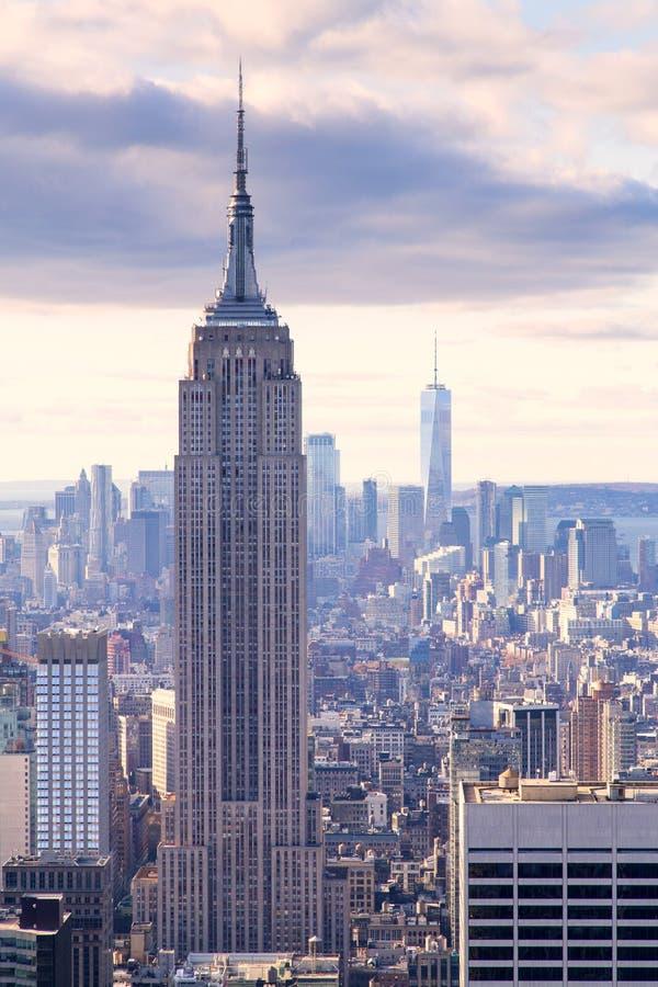 New York - skyline da parte superior da rocha imagens de stock