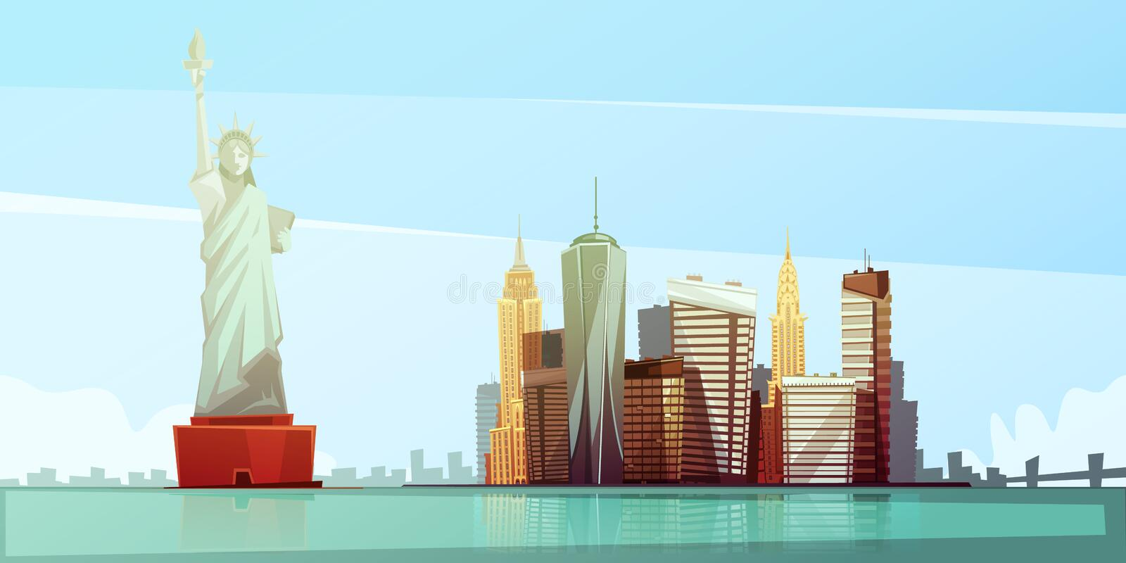 New York Skyline Design Concept. With statue of liberty empire state building chrysler building freedom tower flat vector illustration vector illustration