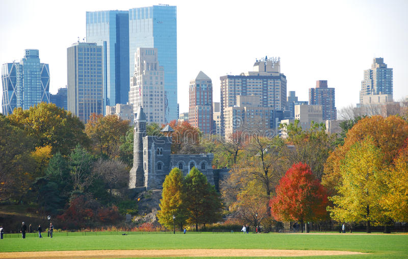 Download New York Skyline With Fall Foliage Stock Photo - Image: 11714496