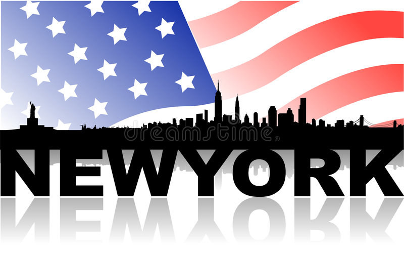 New york skyline with flag and text. Vector illustration of skyline over new york city and its monuments, as empire state building, liberty statue, brooklyn stock illustration
