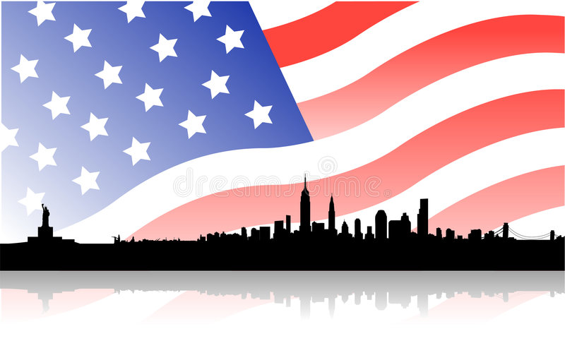 New york skyline with flag usa. Vector illustration of skyline over new york city and its monuments, as empire state building, liberty statue, brooklyn bridge vector illustration