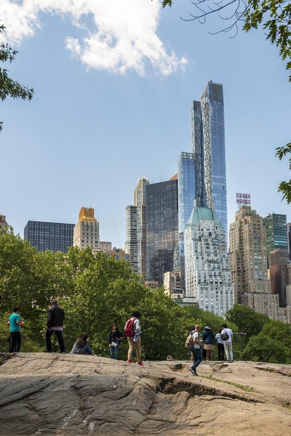 New York skyline från Central Park, New York City, Manhattan, Förenta staterna, Nordamerika arkivfoto