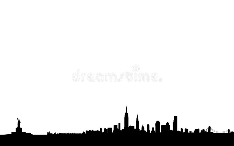 New york skyline and landmarks. Vector illustration of skyline over new york city and its monuments, as empire state building, liberty statue, brooklyn bridge