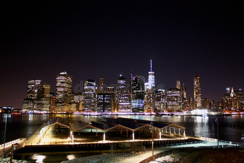 New York Skyline at Night. Manhattan stock images