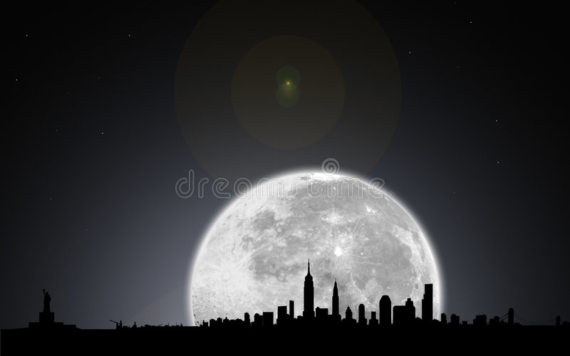 New york skyline night with moon. Digital elaboration and silhouette of new york skyline by night with the full moon and stars in the sky, useful for any event royalty free illustration
