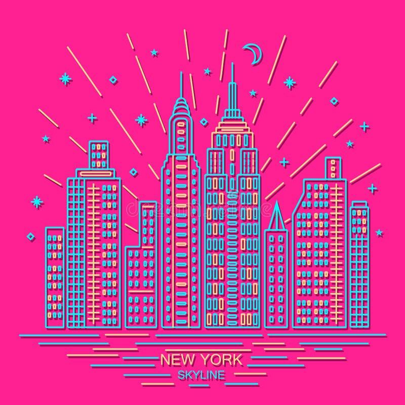New york skyline, outline design, illustration royalty free stock photo