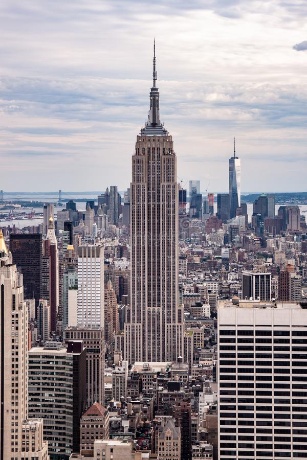 New York skyline seen from the top of the Rockefeller centre stock photos