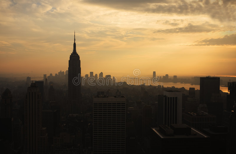 Download New York Skyline at Sunset stock image. Image of building - 7510697
