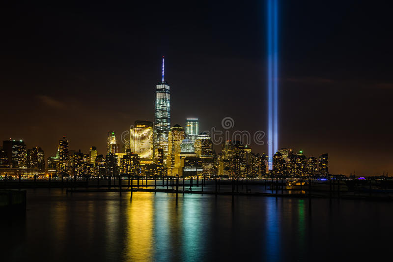 New York skyline with Tribute in Lights stock images
